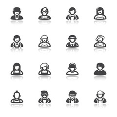 People flat icons with reflection. Classic and modern style