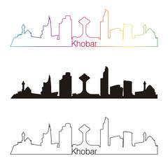 Khobar skyline linear style with rainbow