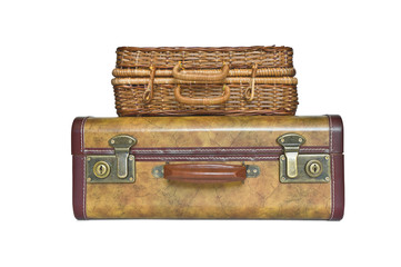 Suitcase and trunk isolated on white background