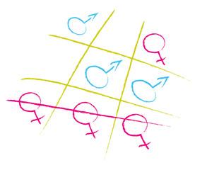 Tic tac toe with gender symbols masculine feminine