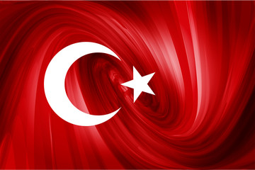 Turkish Flag. Red abstract background stars and the moon.