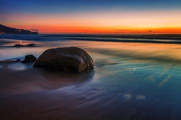 Aluminium Prints New Zealand Tropical beach at sunset.