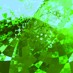 Abstract Green Blue Crystal Distortions