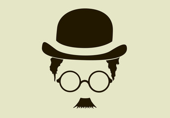 hat with a mustache and glasses