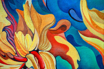 decorative flower painting by oil on canvas, illustration - fototapety na wymiar