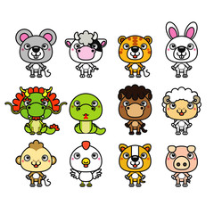 Vector illustration of 12 Chinese Zodiac animal cartoon