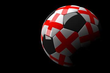 England soccer ball on dark background