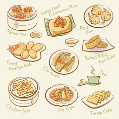 Set of chinese food. Line drawing of guangdong morning tea.