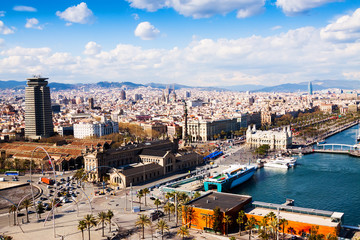 Barcelona city from port side