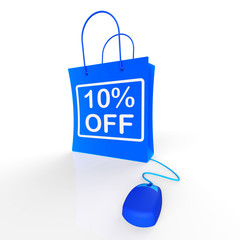 Ten Percent Off Bag Represents Online10 Sales and Discounts
