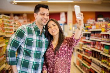 Taking selfie at the supermarket