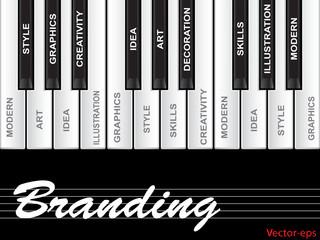 Conceptual piano word cloud
