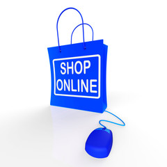 Shop Online Bag Represents Internet Shopping and Buying