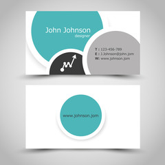 turquoise business card with rings