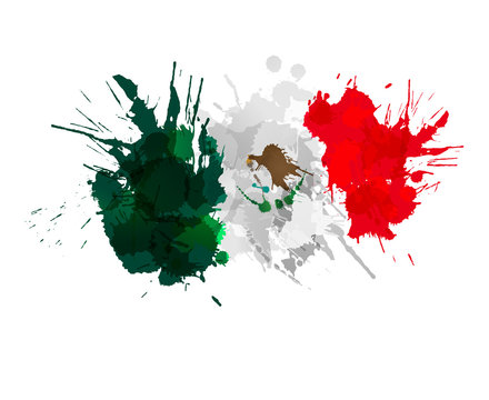 Mexican flag made of colorful splashes
