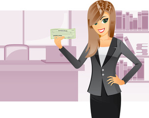 Business girl holding cashier check