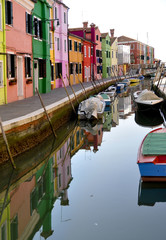 Reflection of colorful houses in Burano