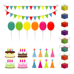 Set of vector birthday party elements.