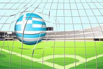 A ball hitting the net with the flag of Greece