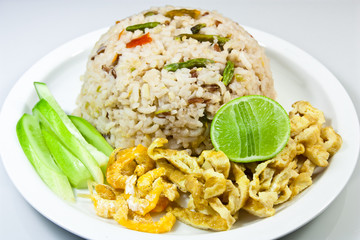 Rice mixed with shrimp paste and dried shrimp eggs inserted,Thai
