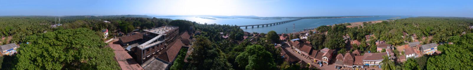 Panorama of a typical Indian coastal town Honnavar, Karnataka