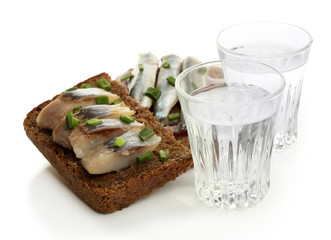 Composition with two glasses  of vodka, and  sandwiches wit