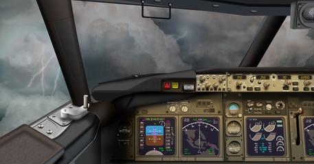 Cockpit Passagierflugzeug, schweres Gewtter