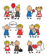 Cartoon vector illustration of different family situations