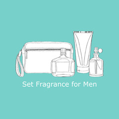 set of men's fragrances