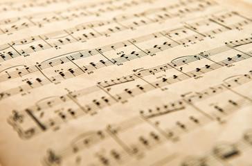 Old yellowed aged music score
