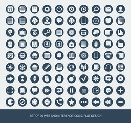 Set of 90 web and mobile icons.