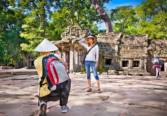 Couple at Prasat Ta Prum, Cambodia.