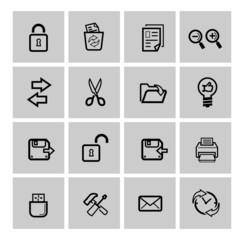 vector black web icons set
