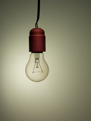 Old light bulb, incandescent, bad wiring