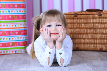 Little girl posing in studio