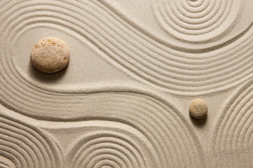 Door stickers Stones in Sand Zen garden