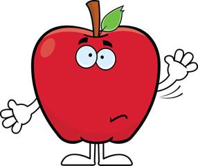Waving Cartoon Apple
