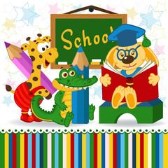 animals in school - vector illustration