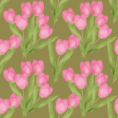 Spring seamless floral tulip pattern on green