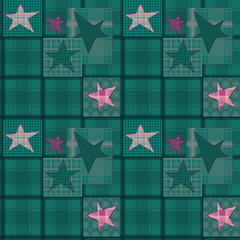 Seamless jeans denim kids patchwork stars pattern