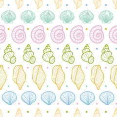 Vector seashells stripes line art seamless pattern background
