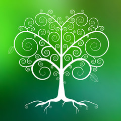 Abstract Vector White Tree Illustration