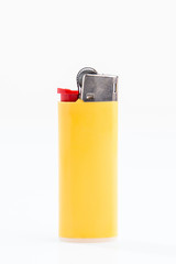 Yellow vertical lighter, white background isolated