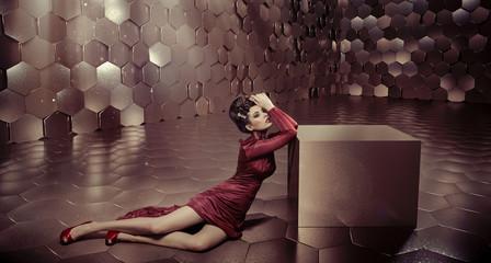 Fabulous woman in shiny golden room Wall mural