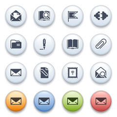 Internet icons on color buttons. Set 2.