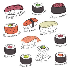 Set of sushi and rolls, vector illustration