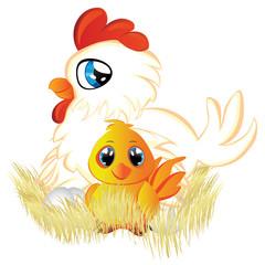 Cartoon Hen and Chicken