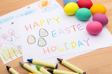 Children drawing for easter holiday