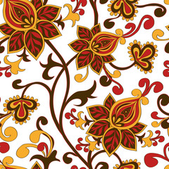 Seamless pattern of paisley floral ornament