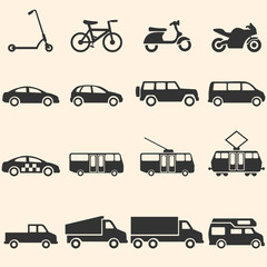 Vector Set of Ground Transportation Icons